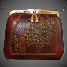 arts crafts tooled leather purse w maple leaves