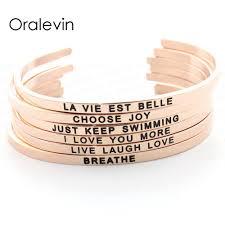 Citation Inspirante Positive Bracelet Manchette Mantra Bracelets Pour Femmes Cadeau Couleur Or Rose