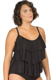 Kenneth Cole Plus Size Swimwear Size Chart Kenneth Cole Solid Black Plus Size Ruffle Tiered Tankini Top