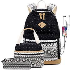 Kids Schoolbag Retro Flower <b>Printing</b> Boho Style 3 Pcs Teens Girls ...