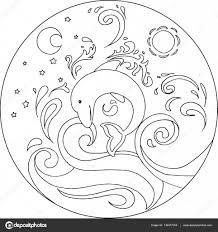 Kleurplaat Dolfijn Mandala Vector Stockvector Carlacastagno
