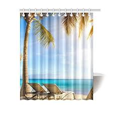 aplysia custom deckchairs in tropical beach bathroom waterproof fabric shower curtain shower curtains