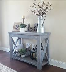 modified Ana Whites Rustic X Console table, and used Minwax Classic Gray  stain