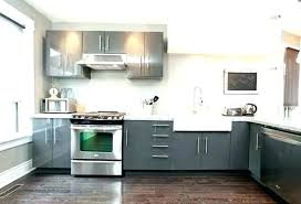 gray painted kitchen cabinets with black granite light white countertop floor office good looking