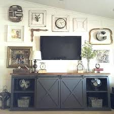 barn door fireplace tv stand media cabinet sliding white rustic home depot