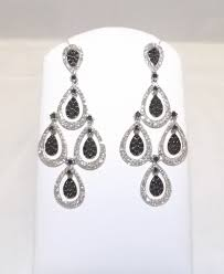picture of 14k white gold black and white diamond chandelier earrings