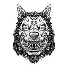 Fototapeta Rozzlobený úsměv Maskot Hlavy Vlk Vlkodlak Blackwork Tetování