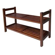 2 tier 15 1 2 in w 12 pair mahogany stackable shoe organizer dsr001 the home depot