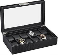 amazon com watch box for men 12 slot luxury carbon fiber design watch box for men 12 slot luxury carbon fiber design display case large holder metal buckle black