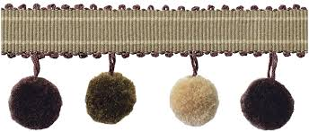 Image result for pom pom trim roman blind