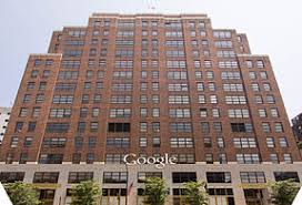 google head office building. the ninth avenue faade featuring google corporate logo head office building