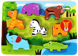 cute wild animals chunky wooden puzzle for toddlers preschool age w easy