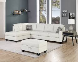 oah d6210 3 pc jackson qdees white faux leather sectional sofa reversible chaise storage ottoman