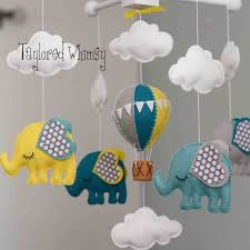 elephant mobile hot air balloon mobile custom от tayloredwhimsy
