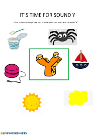 Phonics worksheets for kids, teachers, and parents. Phonic Y Worksheet