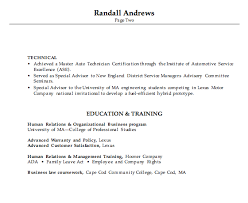 Combination Resume Example Automotive Service Manager p2