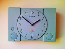 recycled sony playstation ps1 retro game console wall clock 3
