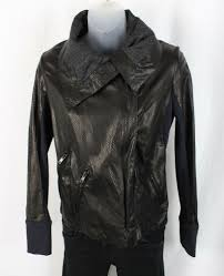 details about a l c women s black perforated lamb leather jacket coat size 4