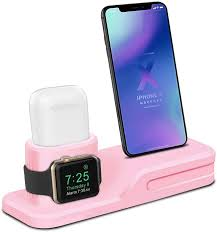Charging stands, apple watch charger stand best buy, apple watch charging stand best buy, best charging stands for apple watch, apple watch stand nightstand top 5: Amazon Com Lewote 3in1 Silicone Charging Stand Dock Compatible For Apple Watch Airpods Iwatch Iphone X 8 7 6 Plus Gift A Airpods Case Pink