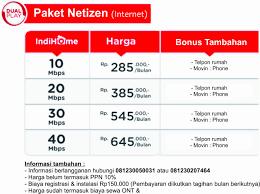 Daftar harga paket indihome 2021 makin murah dan beragam. Harga Pasang Indihome Malang Lengkap