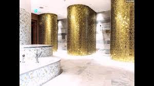 Mosaik Fliesen Badezimmer Gold Weiss Perlmutt Waschbecken