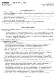 Massage Therapy Resume Samples Occupational Therapy Resume Example