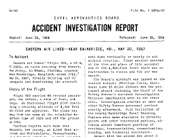 cab accident investigation reports for eastern and pan american cab investigation report for eastern airlines crash in 1947 near bainbridge md