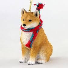shiba inu dog ornament scarf figurine 1