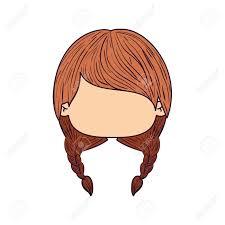 三つ編みおさげ髪型ベクター グラフィックとカラフルな似顔絵顔正面