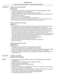 Sample Hotel Resume Hotel Assistant Manager Resume Samples Velvet Jobs 8