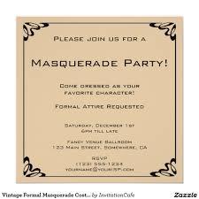Vintage Formal Masquerade Costume Party Invitation Zazzle