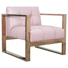 geometric occasional chair in blush pink faux leather with rose gold frame for