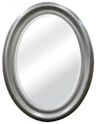 mcs oval mirror frame with brushed nickel finish 22 5 by 29 5 inch