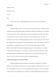 essay on the adverse effects of anthropomorphism on human behavior an