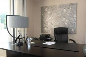 office art ideas. Office:Grey Canvas Custom Office Art Work Plus Dark Brown Table Also Drum Shape Ideas
