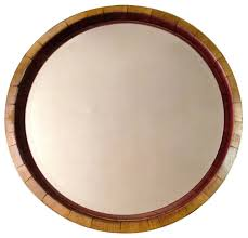 inverted wine barrel mirror rustic bathroom mirrors alpine wine design outdoor finish wine barrel