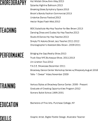 What Jobs To Put On Resume Bad Layout but good reminder of what to put on a dance resume 55