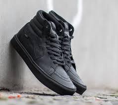 vans sk8 hi lite leather black black