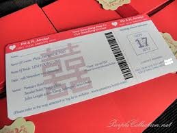 Foong Ling Red Chinese Boarding Pass Wedding Card