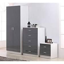 Reflect 3 Piece Bedroom Furniture Set - 2 Door Plain Wardrobe + 5 Drawer Chest Drawers + 2 Drawer Bedside - High Gloss Grey Drawer Fronts & Matt White ...