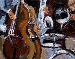 abstract jazz painting art instruments painting by debra hurd