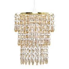 modern easy fit gold 3 tier droplet chandelier pendant light shade led bulb
