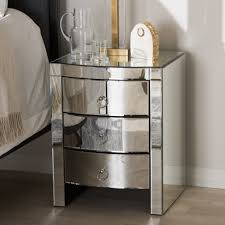 luxury mirrored glass nightstand with 3 drawer for modern bedroom design