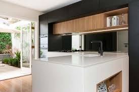 modern kitchen cabinet without handle. Modern Kitchen Design Featuring Quantum Quartz Alpine White Stone Benchtop With Sharknose Profile. Cabinets In Cabinet Without Handle