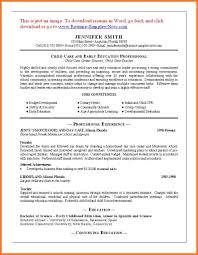 Child Care Resume Sow Template