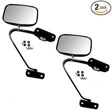 Amazon.com: Pair of Manual Side View Black Steel Mirrors Replacement ...