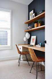 Like : dark paneled wall w natural wood shelves.Study perfection. Designed  and styled  Home Office DesignOffice Table ...