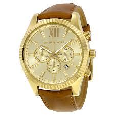 michael kors lexington gold dial chronograph leather mens watch zoom