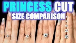 Square Diamond Size Chart Princess Cut Diamond Size Comparison On Hand Finger 1 Carat Square 2 Ct 3 4 5 75 6 Engagement Ring
