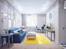 a bright yellow rug livens up the entire space and balances out the large area bright yellow sofa living